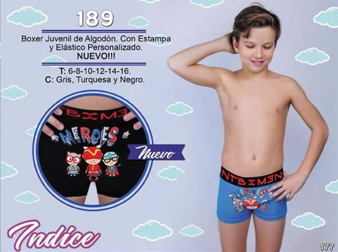 Art 189 boxer juvenil algodoncon estampa y elastico personalizado 6 a 16 rgris turquesa negro