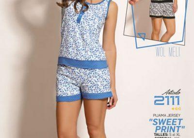 Art-2111-Pijama-de-Dama-SWEET-PRINT-Jersey-Negro-Azul-Talle-S-M-L-XL