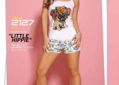 Art-2127-Pijama-de-Dama-LITTLE-HIPPIE-Modal-Crudo-con-Gris-Blanco-con-Natural-Talle-S-M-L-XL