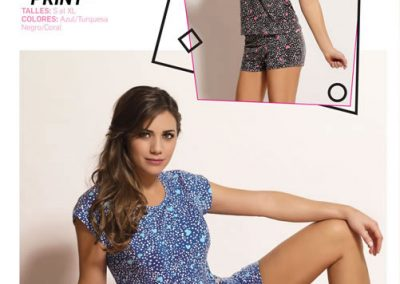 Art-2128-Pijama-de-Dama-CORAZON-PRINT-Modal-Azul-con-Turquesa-Negro-con-Coral-Talle-S-M-L-XL