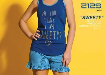 Art-2129-Pijama-de-Dama-SWEETY-Jersey-Blanco-con-Beige-Azul-con-Aero-Talle-S-M-L-XL