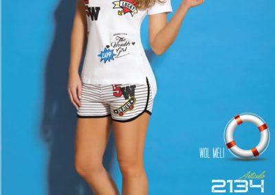 Art-2134-Pijama-de-Dama-PARCHES-Jersey-Rayado-Blanco-con-Negro-Gris-con-Negro-Talle-S-M-L-XL