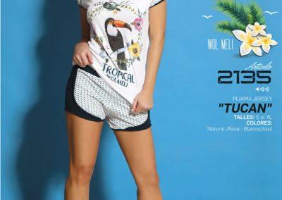 Art-2135-Pijama-de-Dama-TUCAN-Jersey-Natural-con-Rosa-Blanco-con-Azul-Talle-S-M-L-XL