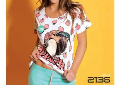 Art-2136-Pijama-de-Dama-DURAZNO-Jersey-Blanco-con-Aqua-Durazno-con-Aqua-Talle-S-M-L-XL