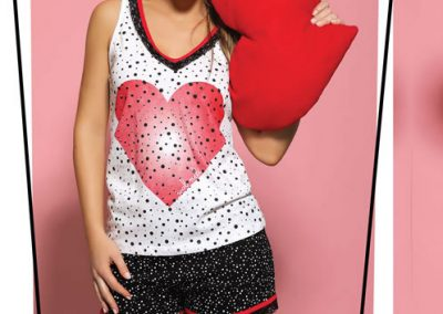 Art-2137-Pijama-de-Dama-HEART-Jersey-con-Puntilla-Ancha-Blanco-con-Negro-Blanco-con-Lima-Talle-S-M-L-XL.