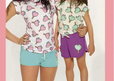 Art-254-Pijama-de-Nena-FUNNY-Jersey-Blanco-con-Aqua-Natural-con-Violeta-Talle-2-4-6-8-10-12