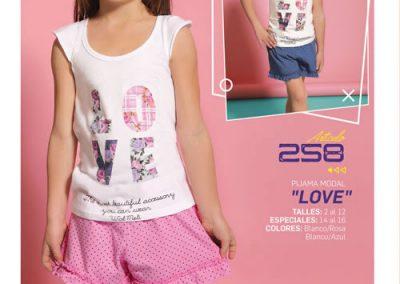 Art-258-Pijama-de-Nena-LOVE-Modal-Blanco-con-Rosa-Blanco-con-Azul-Talle-2-4-6-8-10-12
