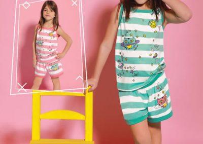 Art-259-Pijama-de-Nena-PARCHES-Jersey-Rallado-Crudo-con-Aqua-Blanco-con-Rosa-Talle-2-4-6-8-10-12