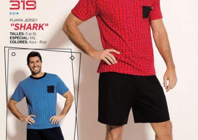 Art-319-Pijama-de-Hombre-SHARK-Jersey-Azul-Rojo-Talle-S-M-L-XL