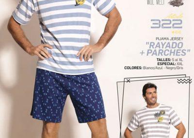 Art-322-Pijama-de-Hombre-RALLADO-PARCHES-Jersey-Blanco-Azul-con-Negro-Gris-Talle-S-M-L-XL
