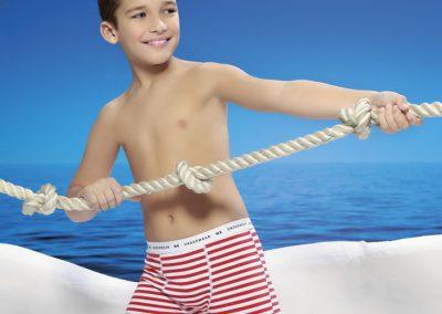 Art 4005 Boxer kids alg y lycra rayado Talles 4 al 12 Colores blancorojo blancoazul_1