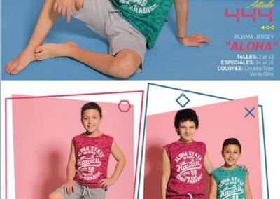 Art-444-Pijama-de-Niño-ALOHA-Jersey-Ciruela-Topo-Verde-Gris-Talle-2-4-6-8-10-12