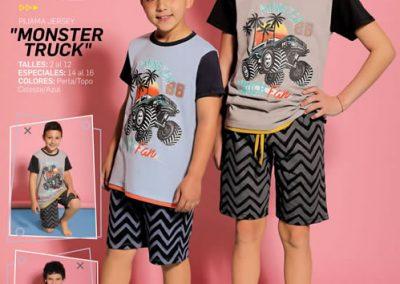 Art-445-Pijama-de-Niño-MONSTER-TRUCK-Jersey-Perla-Topo-Celeste-Azul-Talle-2-4-6-8-10-12