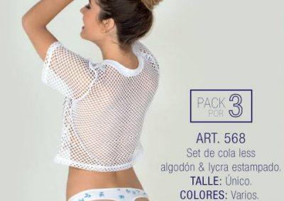 Art 568 pack x3 colaless algodon lycra estampado Talle unico Colores varios.