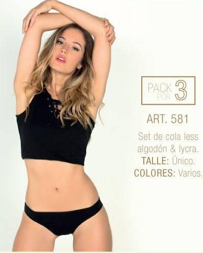 Art 581 pack x3 vedetinas algodon y lycra Talle unico Colores Varios.