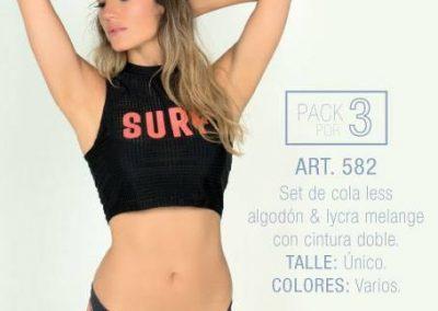 Art 582 pack x3 colaless algodon y lycra melange con cintura doble Talle unico Colores varios.