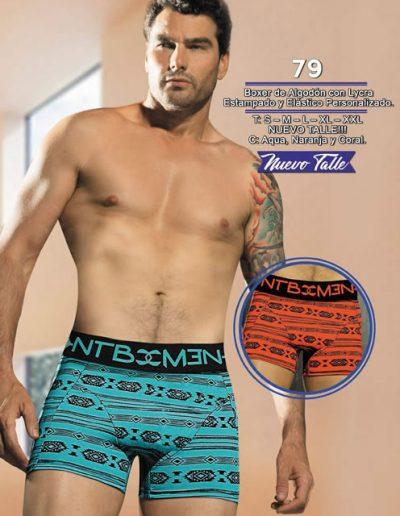 Art 79 boxer algodon lycra estampado elastico personalizado S a XXL acqua naranja coral